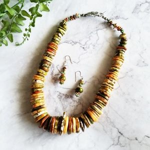 Polished Flat Stone Statement Necklace & Earrings